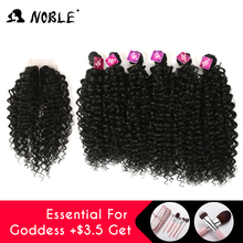Noble Synthetic Hair Weave 16-20 inch 7Pieces lot Afro Kinky Curly Hair Bundles With Closure African lace For Women hair Extensi cheap High Temperature Fiber Machine One Weft 100g(+ -5g) piece 1 Piece Only Natural Black 3 Colors is available Middle Part Lace Front Wig