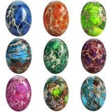 TUMBEELLUWA 1 مجموعة (10 قطعة) البيضاوي البحر الرواسب جاسبر كبوشن ، حجر مسطح لون عشوائي ، 18x25mm