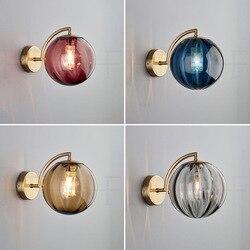 Nordic salon kolor szklane światło ścienne proste kreatywny sypialnia lampki nocne badania lampa ścienna Led 90-260v