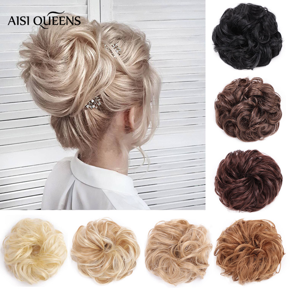 Synthetic Hair Chignons Elastic Scrunchie Extensions Hair Ribbon Ponytail Bundles Updo Hairpieces Donut Bun for Brides Women title=