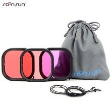SOONSUN 3 Pack de filtres Kit rouge Magenta tuba lentille filtre de plongée pour GoPro Hero 8 noir étanche boîtier de protection filtre