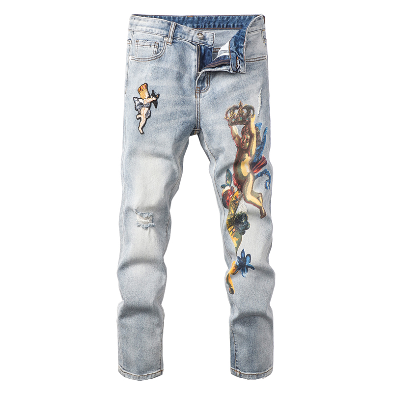 Sokotoo Men's Angel Crown Printed Embroidery Jeans Fashion Light Blue Slim Fit Stretch Denim Pants