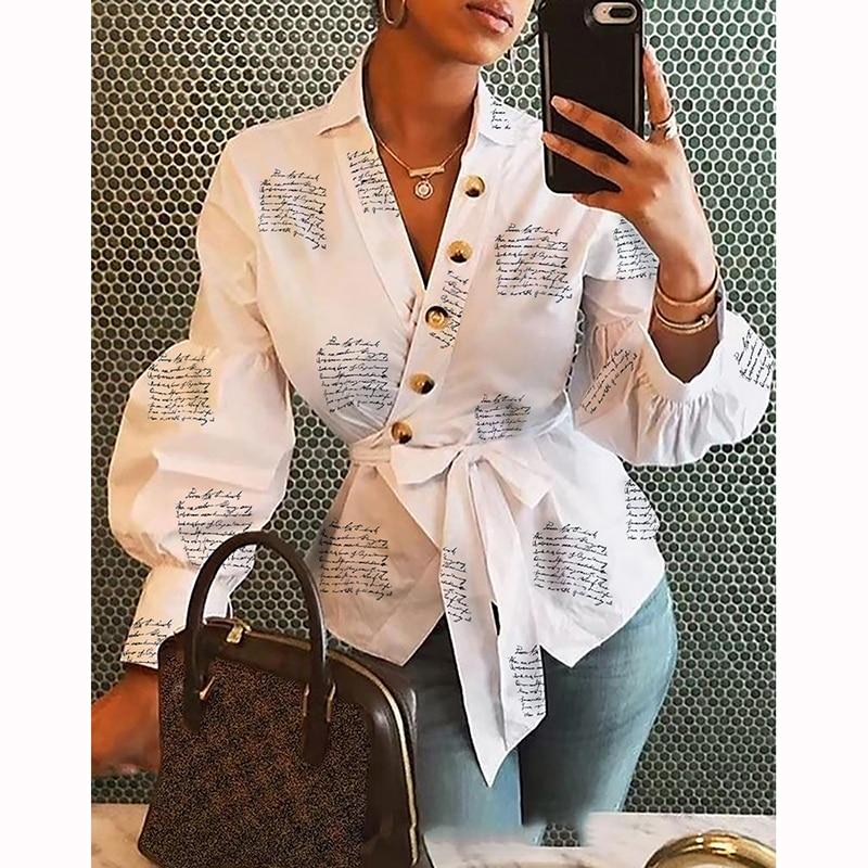 Women   Blouse     Shirt   2019 Female Clothing Lantern Sleeve Print Women's Office   Shirts   Feminine   Blouses   Button Ladies Tops