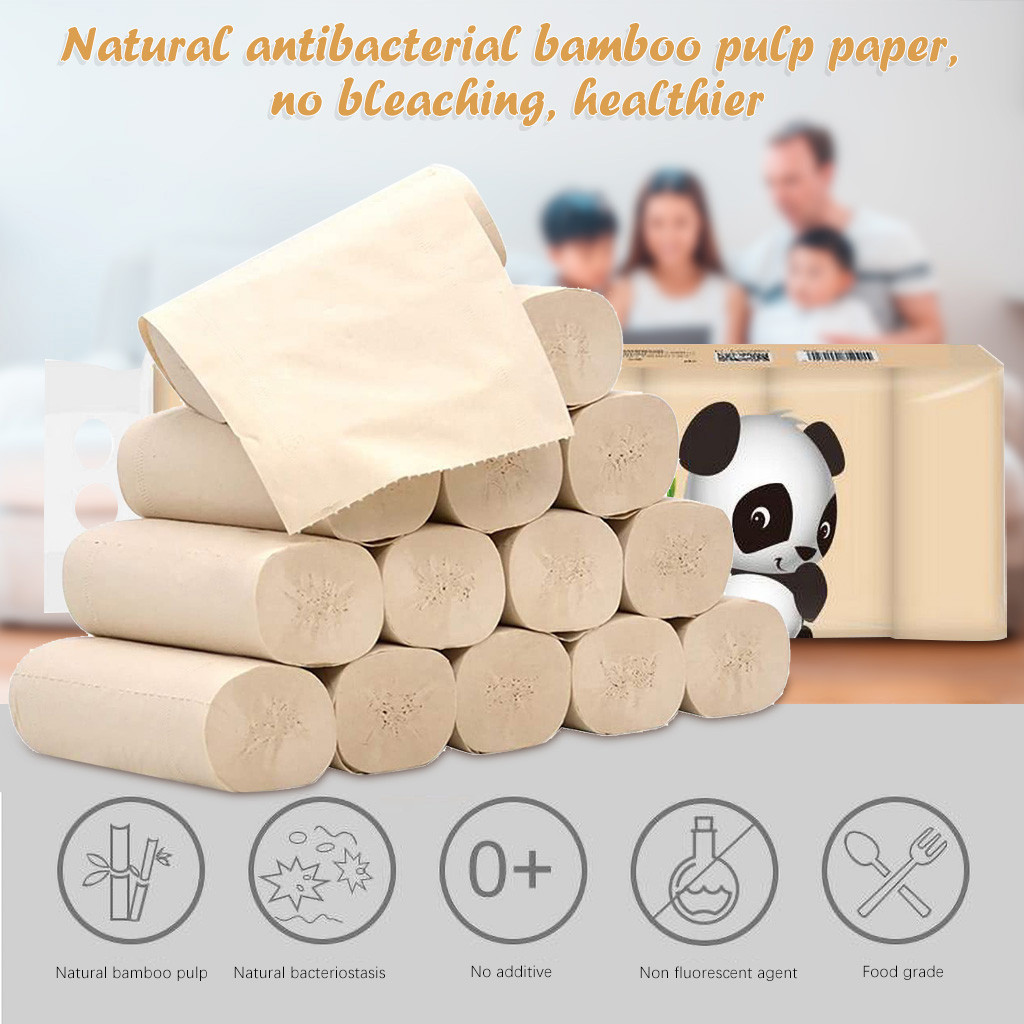 14pcs Roll Paper Bath Tissue Paper Roll 4 Layer Thickened Household Paper Toilettenpapier Toiley Rolling Rolls Paper #40