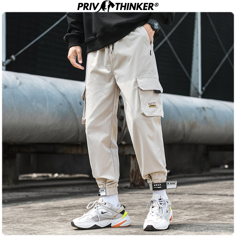 Privathinker Men 2020 Safari Style Casual Joggers Men's Hip Hop Harajuku Harem Pants Streetwear Spring Vintage Male Cargo Pants