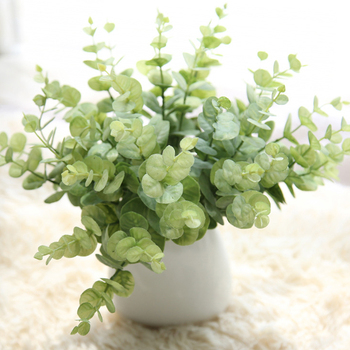 Fork Artificial Plants Plastic Grass Turtle Leaves Wall Green Plant Accessories Party Wedding Decoration Potted Fake Flowers image