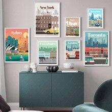 Cuadro sobre lienzo para pared Londres Nueva York París España Vintage viajes ciudades paisaje carteles e impresiones imagen habitación decoración del hogar