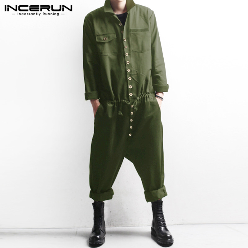 Men Cargo Overalls Long Sleeve Streetwear Button Casual Solid Color 2019 Lapel Rompers Pants Men Fashion Jumpsuits 5XL INCERUN 7