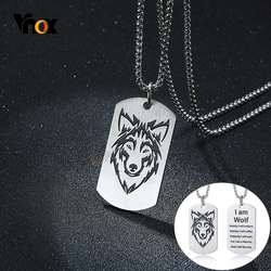 Vnox Rock Wolf Military Dog Tag Pendant Necklaces for Men Team Fight Jewelry with Stainless Steel Metal Box Chain 24