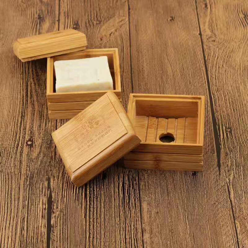 Vintage Bamboo Soap Dish Wooden Soap Tray Holder Storage Soap Rack Plate Box Bathroom Soap Container Handmade Drain Soap Box