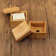 Jabonera de bambú Vintage bandeja de jabón de madera soporte de almacenamiento plato de rejilla para jabón caja de jabón de baño contenedor de jabón de drenaje hecho a mano caja de jabón