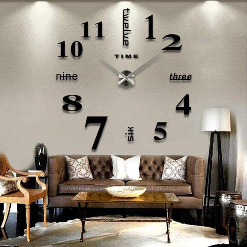 Reloj silencioso de pared sin marco, adhesivo para superficie de espejo 3D, pegatinas de decoración para el hogar, oficina, sala de estar, baño, decoración de pared # w