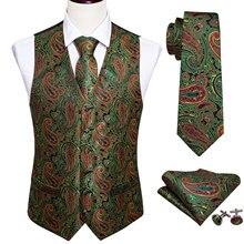 4PC Mens Silk Vest Party Wedding Green Paisley Solid Floral Waistcoat Pocket Square Tie Slim Suit Set Barry.Wang BM-2015