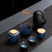 Customize Chinese Kung Fu Teaset Ceramic Portable Teapot Set Travel Gaiwan Tea Cups of Tea Ceremony Teacup Fine Hand Pot