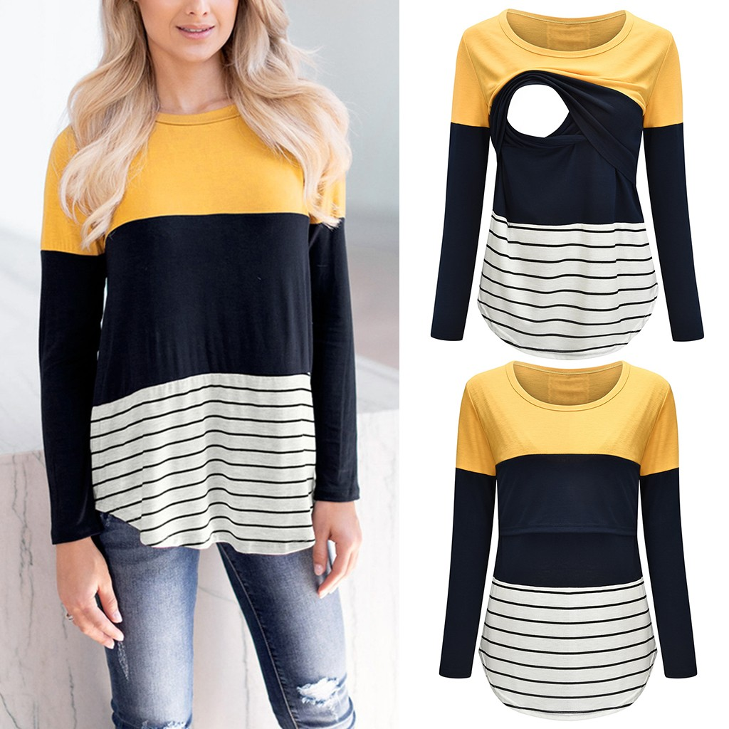 TELOTUNY Women Mom Pregnant Nursing tops long sleeve Striped Print t-shirt Maternity breastfeeding Blouse Clothes tops ZS26