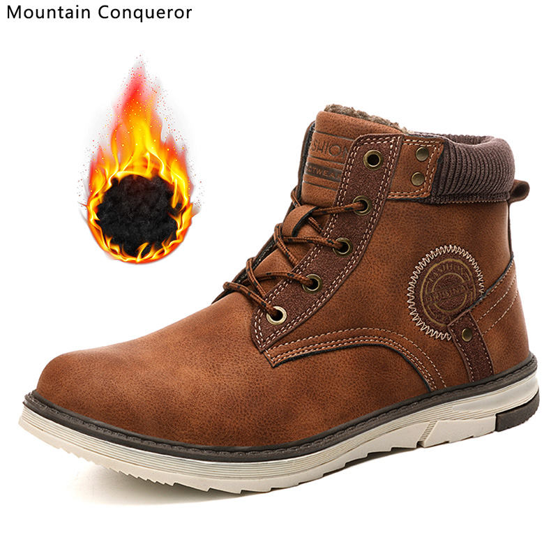 Mountain Conqueror PU Leather Winter Men Boots Waterproof Warm Fur Snow Boots Men Winter Work Casual Shoes Military Ankle Boots