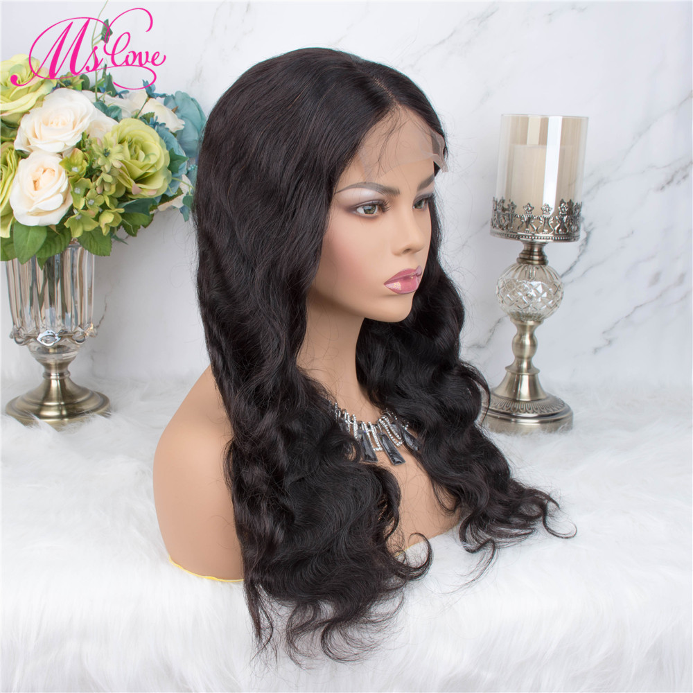 H4856e9cea4b34f3296c637e493114251k Ms Love 4X4 Lace Closure Human Hair Wigs Body Wave Brazilian Human Hair Wigs For Black Women Natural Color Non Remy Wig