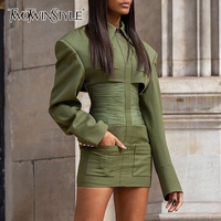 TWOTWINSTYLE Patchwork Dress For Women Lapel Collar Long Sleeve High Waist Zipper Slim Dresses Female 2020 Autumn Fashion New