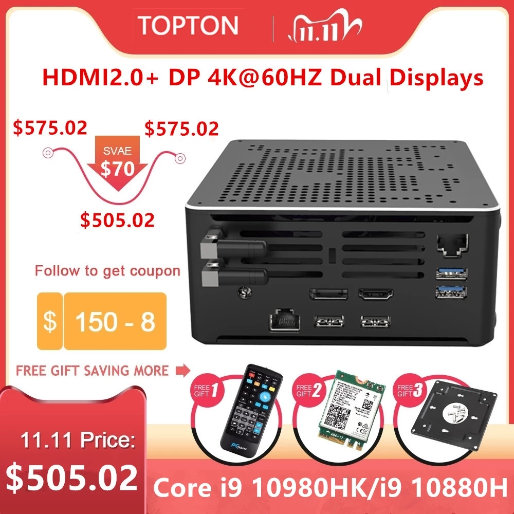 Игровой мини-ПК Topton 2Lan Core i9 10980HK i9 10880H Xeon E-2286M 2 * DDR4 M.2 NVMe Windows 10 Linux компьютер 4K HTPC HDMI DP WiFi