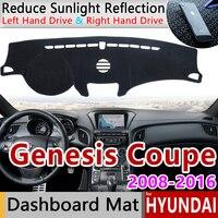Dla Hyundai Genesis Coupe 2008 2009 2010 2011 2012 2013 2014 2015 2016 antypoślizgowa mata Dashboard pokrywa Pad osłona przeciwsłoneczna akcesoria w Naklejki samochodowe od Samochody i motocykle na