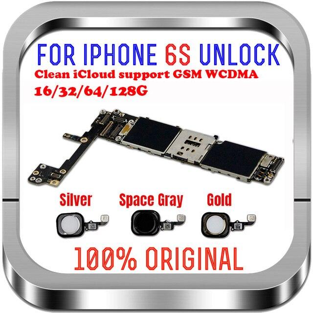Volledige Chips Ontgrendeld 16Gb 32Gb 64Gb 128Gb Voor Iphone 6S Moederbord Zonder Met Vingerafdruk Voor iphone 6S Moederbord