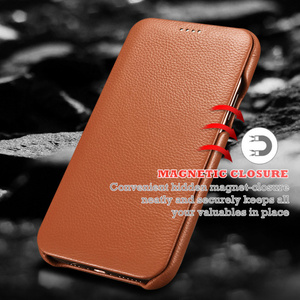 Image 2 - Flip Lichee Patroon Rundleer Case Voor Iphone Xs 11 Pro Max MYL 32W Luxe Folio Leather Case Cover Voor Iphone xr 8 Plus