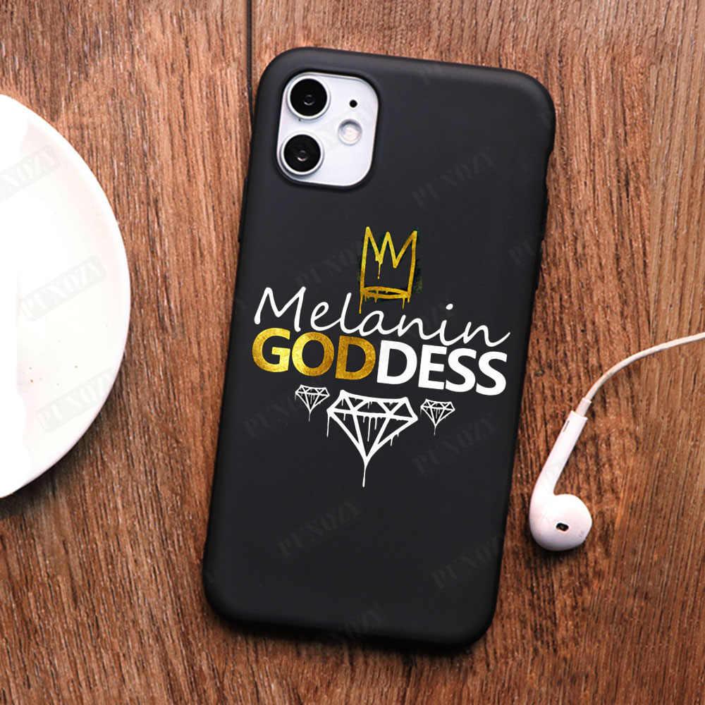 Afro Fille Noire Magic Queen Mélanine Poppin Téléphone étui pour iphone 11 PRO MAX XS MAX XR X 5 5s 6 6S 8 7plus TPU Housse En Silicone