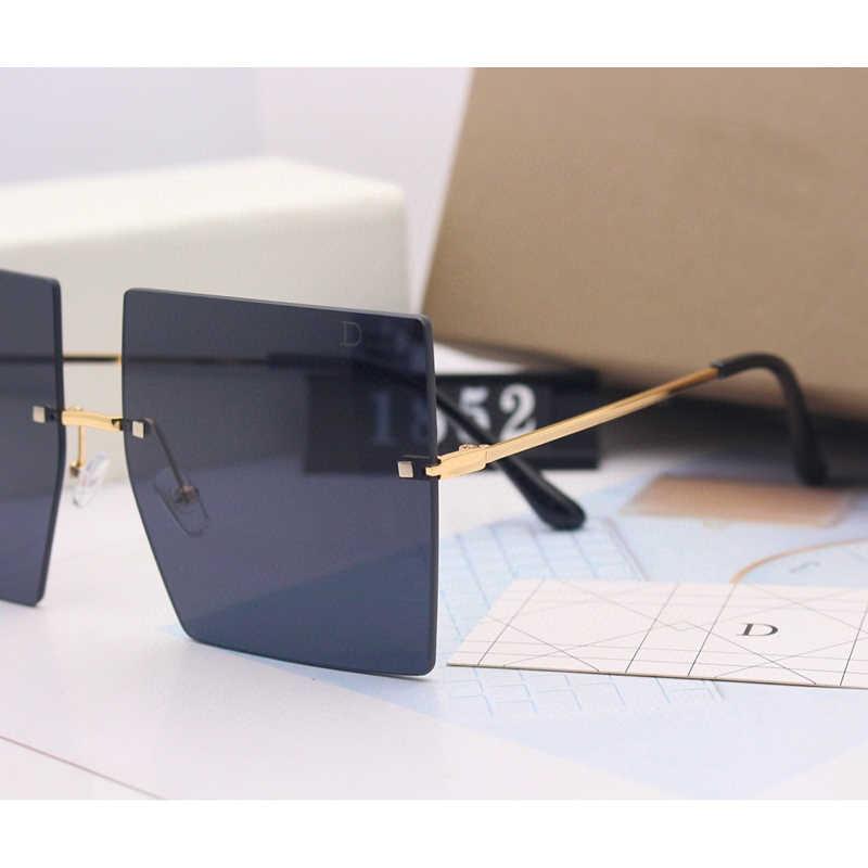 Quá Khổ Kính Mát Nam Nữ 2020 Cao Cấp Thương Hiệu Gradient Ống Kính Không Gọng Kính Mắt Oculos Nhiều Màu Sắc Feminino Sắc Thái