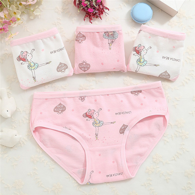 4Pcs Children Girls Underpants Kids Cute Cartoon Print Underwear Cotton Elastic Triangle Briefs Underpants For 2-10 Years A20