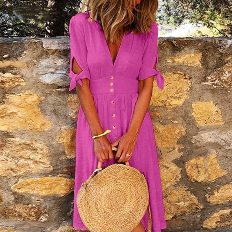 カジュアル女性の夏のビーチのドレスセクシーなディープvネック無地半袖ドレスエレガントな女性ボタンラップミディパーティードレスvestidos