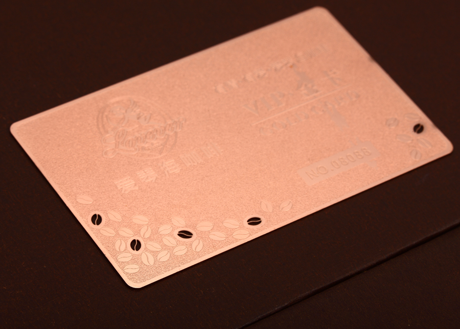Rose gold stainless steel card hollow metal membership card plating brushed stainless steel card custom
