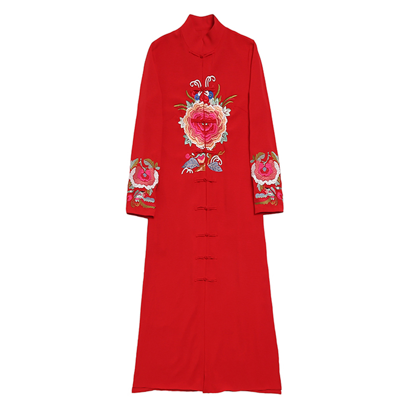 2019 frühling und herbst neue Chinesischen Stil Lange kleid frauen vintage Stickerei langarm Ankle Länge kleid frauen kleidung - 2