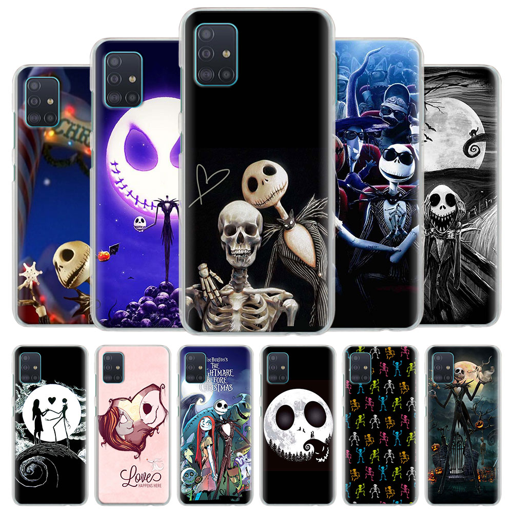 Phone <font><b>Case</b></font> Coque for <font><b>Samsung</b></font> Galaxy A51 A71 A10 A10e A10s A20 A30 A40 <font><b>A50</b></font> A70 S A91 Hard Cover Jack Skellington <font><b>Funny</b></font> Halloween image