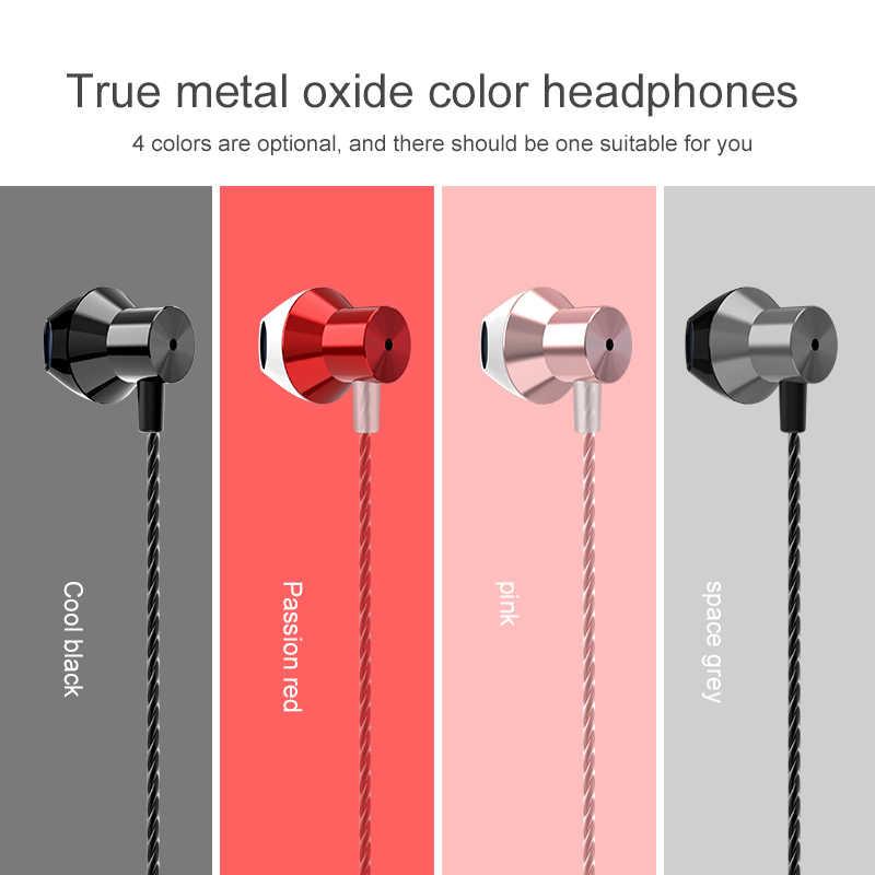 Auriculares con cable de Metal auriculares con cable para teléfono móvil PC Gaming auriculares con cable de 3,5mm en la oreja auriculares cómodos auriculares