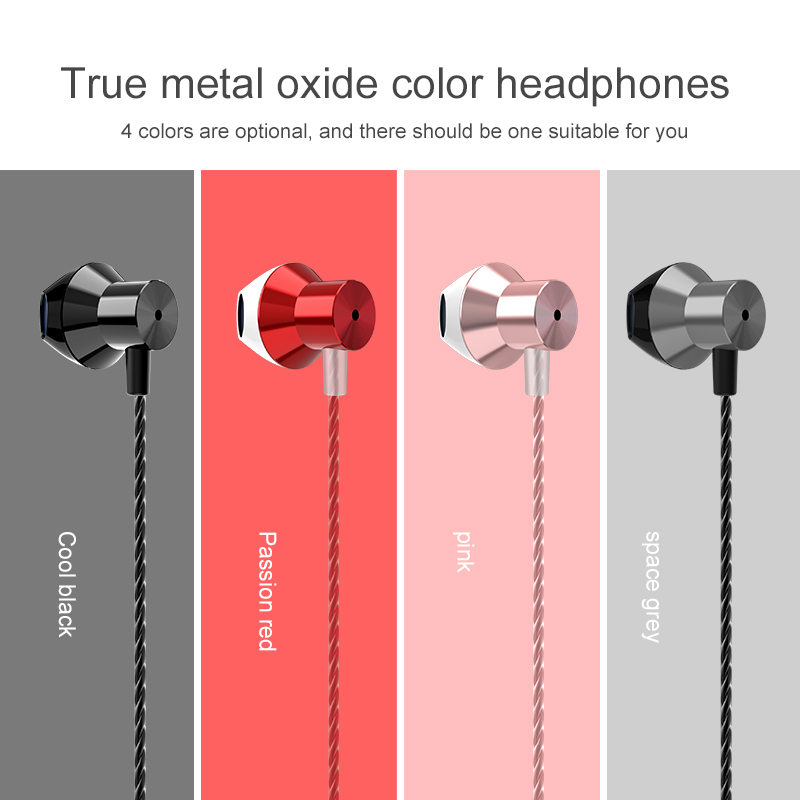 Metal wired Earphone Corded Headset For Mobile Phone PC Gaming WIred Headphone 3 5mm IN EAR Headset Comfortable ear Headphones in Phone Earphones Headphones from Consumer Electronics