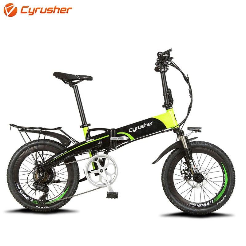 Cyrusher XF500 Electric Bicycle Folding font b Bike b font 400W 48V 10AH Li Battery full