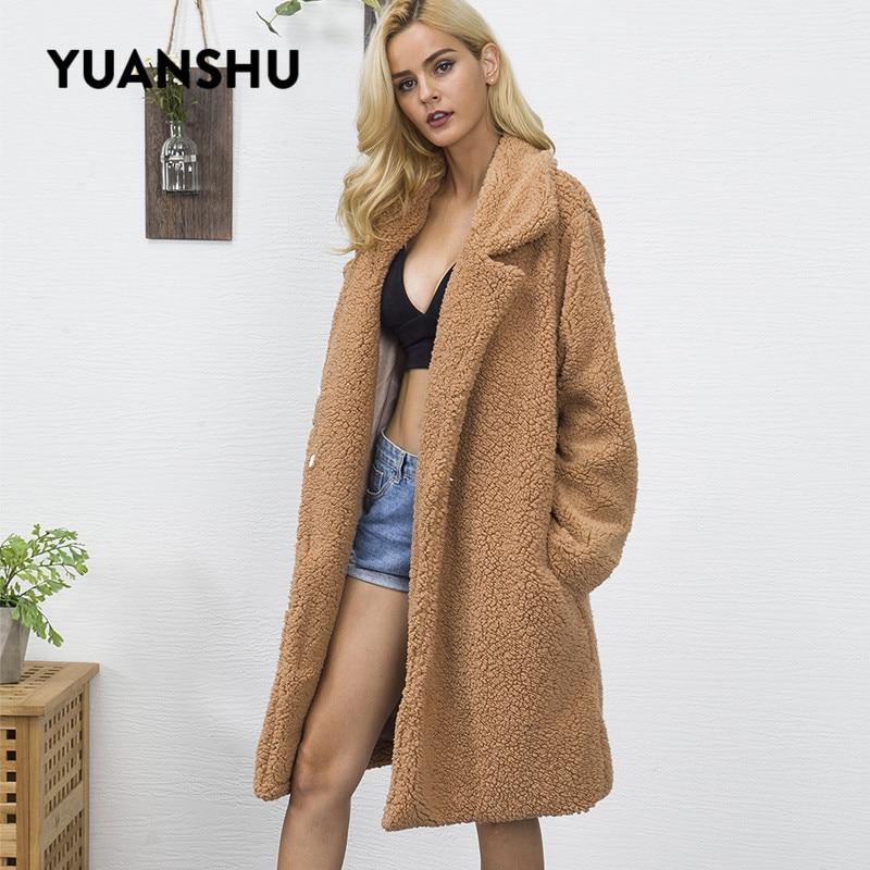 YUANSHU Teddy Coat Faux Fur Long Jacket Women Streetwear Autumn Winter Warm Plush Teddy Coat Female Plus Size Office Overcoat