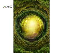 Laeacco Green Forest Tree Cave Mystery Way Natural Scenic Photo Backgrounds Photocall Photography Backdrops