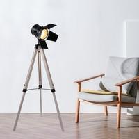 Artpad American Tripod Wooden Floor Lamp Living Room Decor Home Lighting Industrial Adjustable Height Standing Lights E27
