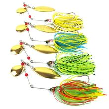Spinner bait Metal Sequins Lures Silicone Skirt Jig Fishing Lure Wobbler Beard Tackle 4pcs 20.5g