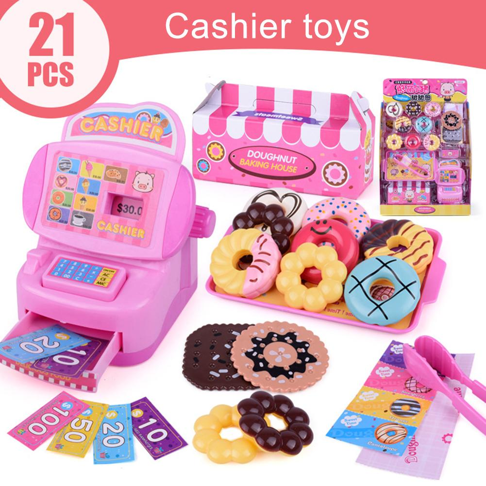 21Pcs/Set Kids Doughnut Cash Register Kit Pretend Role Play early Educational Toy Gift for supermarket Checkout Counter New