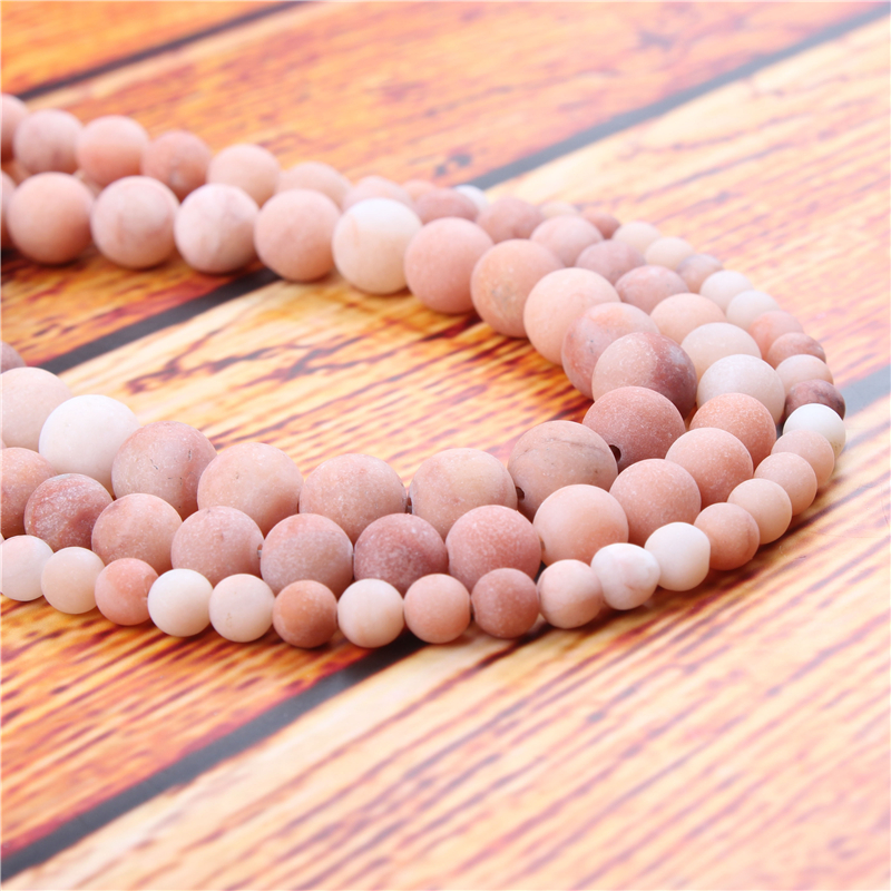 Frosted Tangling Natural Stone Bead Round Loose Spaced Beads 15 Inch Strand 4/6/8/10/12mm For Jewelry Making DIY Bracelet