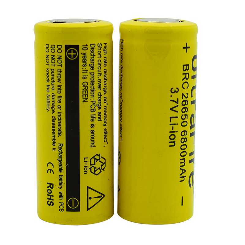 WasaFire 2pc/lot 6800mah 3.7v Battery 26650 Rechargeable Li-Ion Battery For Flashlight/Headlamp Electronic Toy Drop Shipping