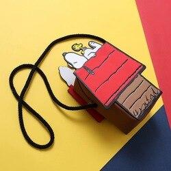 Peanuts Snoopy cute cartoon kawaii PU Leather Messenger bag Coin Purse Slim Mini  shoulder bags Small Key Wallet Zero wallet
