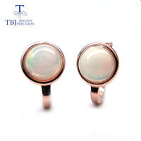 TBJ,925 sterling silver rose color small clasp dots earring with natural colorful opal gemstone simple style jewelry for girls