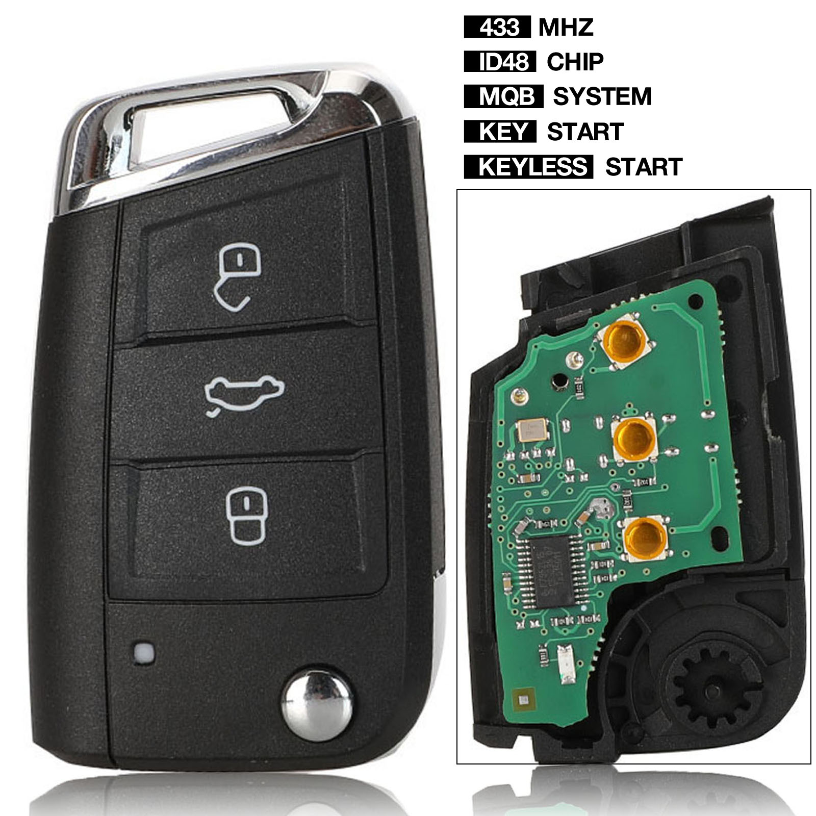 kutery Keyless-start/<font><b>key</b></font> start <font><b>Remote</b></font> <font><b>Key</b></font> 434MHz MQB for VW/VOLKSWAGEN <font><b>Golf</b></font> <font><b>7</b></font> MK7 Touran Polo Tiguan image