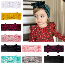 Headband Hair-Accessories Infant Bowknot Newborn Warm Velvet Soft Solid