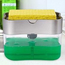 2 em 1 schrubben flssigkeit waschmittel spender presse-typ flssigkeit seife caixa pumpe organizador mit schwamm kche werkzeug bad l