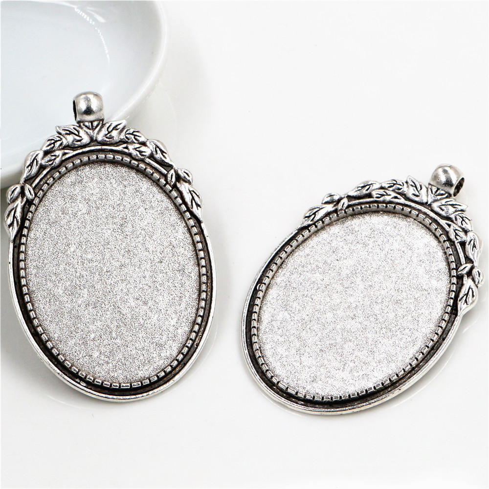 New Fashion  5pcs 30x40mm Inner Size Antique Silver Flowers Style Cabochon Base Setting Charms Pendant (B3-41)