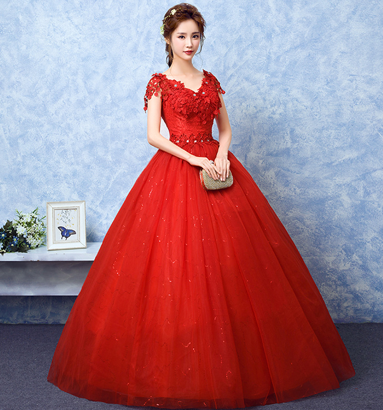 Cheap Red Romantic V-Neck Short Sleeve Wedding Dresses Lace Appliques Customized Plus Size Bridal Gown Vintage Vestido De Noiva